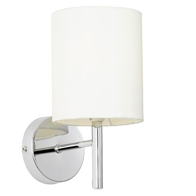 Brio Wall Light in Polished Chrome with a Faux Silk Shade - ENDON BRIO-1WBCH